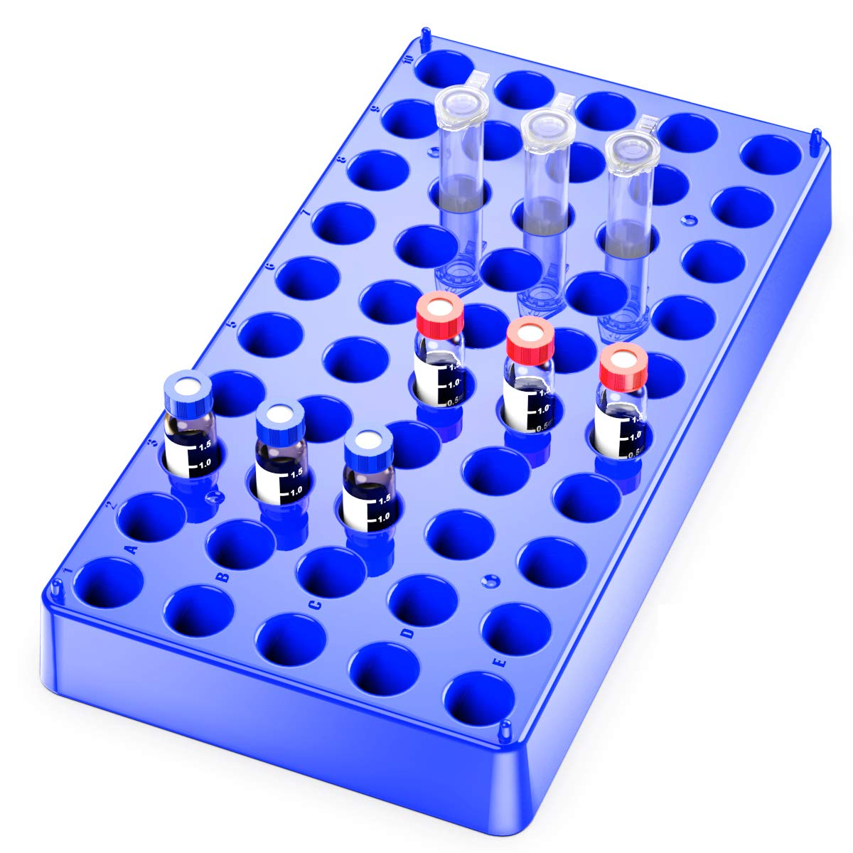 2Pcs Vial Rack,Blue Polypropylene Vial Holder 2mL with 50 Holds Diameter 12mm,Stackable Vial Racks,Centrifuge Tube Rack,Bottle Racks by Biomed Scientific PP