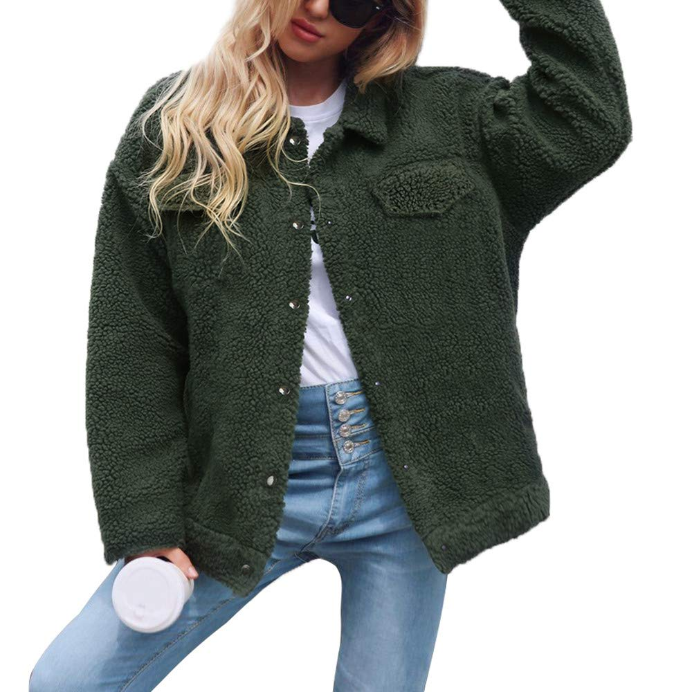 Coat For Women, Clearance Sale! Pervobs Womens Winter Warm Button Down Pockets Solid Jacket Parka Coat Outerwear(18, Army Green) by Pervobs Women Coat&Jacket (Image #3)