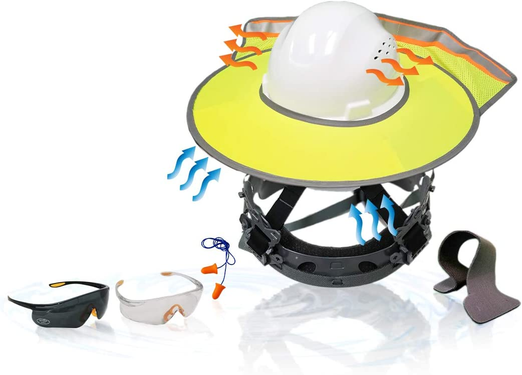 KwikSafety (Charlotte, NC) TORTOISE SHELL COMBO (18 Vents) Full Brim ANSI Hard Hat, Safety Glasses, Sunshade, Sweatbands & Earplugs Construction Work PPE, Type1, Class C, WHITE