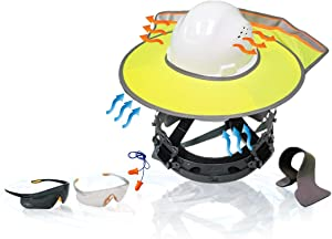 KwikSafety (Charlotte, NC) TORTOISE SHELL COMBO (18 Vents) Full Brim ANSI Hard Hat, Safety Glasses, Sunshade, Sweatbands & Earplugs Construction Work PPE, Type1, Class C, WHITE