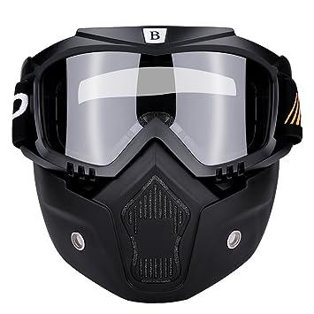KIMISS Máscara de casco de motocicleta con Gafas antiniebla desmontables - Máscara protectora del Motocross Ciclismo