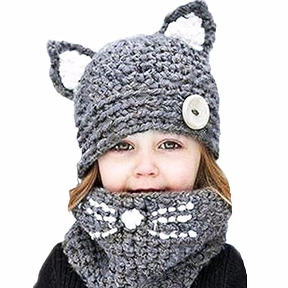9a88baa9c302 Koola s hats Chapeau Tricoté Enfant Hiver Manuel Bonnet Tricot avec Écharpe  Chaud Tricot Tour de Cou