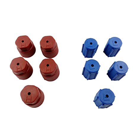 A//C Charging Port Service Caps R134a 13mm /& 16mm LOT of 10 Pieces RED /& BLUE A//C