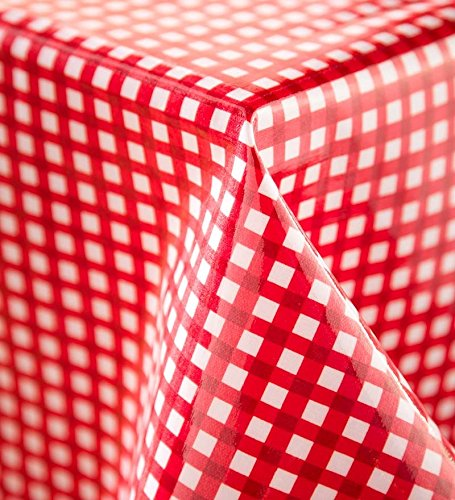 "Plow & Hearth Oilcloth Tablecloth, 54"" dia. Round, in Red..."