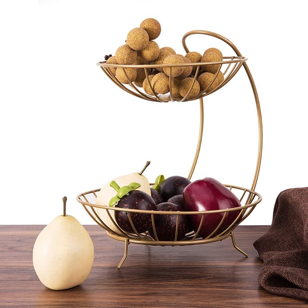 YARNOW Cesto per Fruttiera a 2 Livelli Tavolo da Pranzo Impilato con Server Ad Arco E Organizer per Bancone da Cucina Supporto per Cesto di Frutta Moderno Dorato