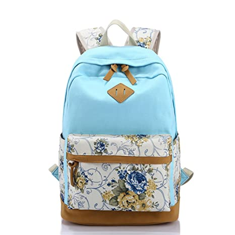 953b0c1477cc Amazon.com  Floral Canvas Printing Women Bagpack High Schoolbag Student  Backpacks For School Teenagers Girls Rucksack Sky blue  Sports   Outdoors