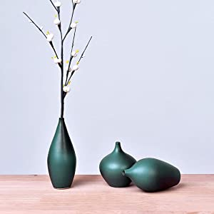 ZZB Ceramics Flower Vase,Cute Dark Green Pot,Hand-Colorful Painted Decorative Modern Table Floral Vases for Living Room Indoor Home Decor, Wedding Centerpieces/Arrangements,Bottom Waterproof