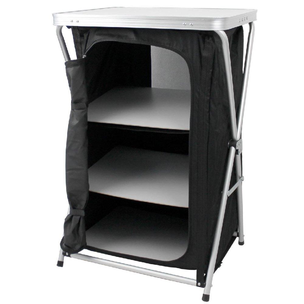 Armario plegable para camping, 3 estantes, con estructura fija de aluminio, armario de viaje Tollkühn 401209369008