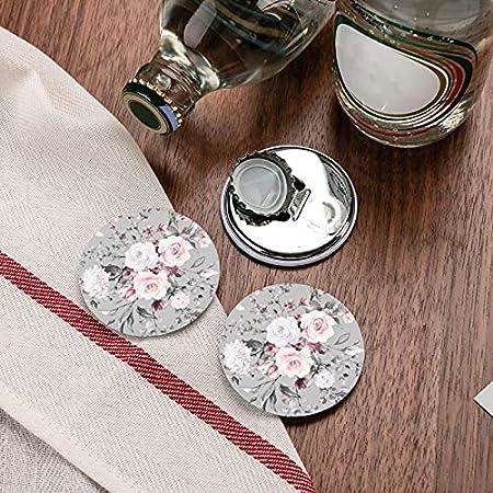 Planta Flores florales Abrebotellas redondas / Imanes de nevera Sacacorchos de acero inoxidable Etiqueta magnética 2 piezas