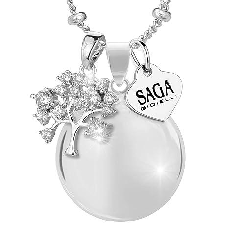 Saga Gioielli Collar con llamador de ángeles, bola mexicana, con árbol de la vida Swarovski Elements