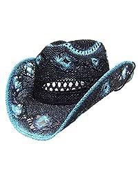 Modestone Women's Straw Cowboy Hat Black Turquoise