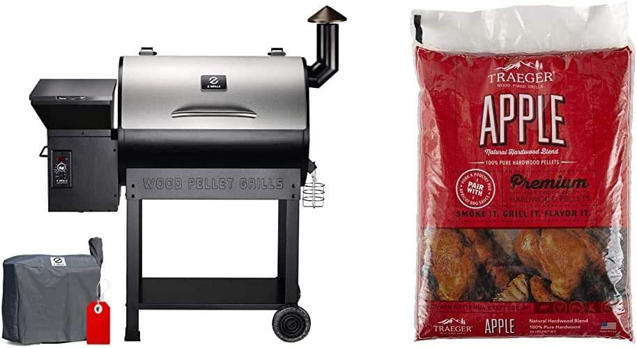Z GRILLS ZPG-7002E 2020 Upgrade Wood Pellet Grill & Smoker, 8 in 1 BBQ Grill, 500 sq & Traeger Grills PEL318 Apple 100% All-Natural Hardwood Pellets - Grill, Smoke, Bake, Roast, Braise (20 lb. Bag)