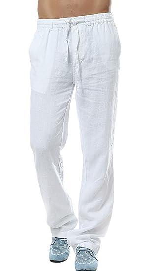 06e8950b64 utcoco Men's Casual Lightweight Drawstring Linen Pant (X-Small, White)