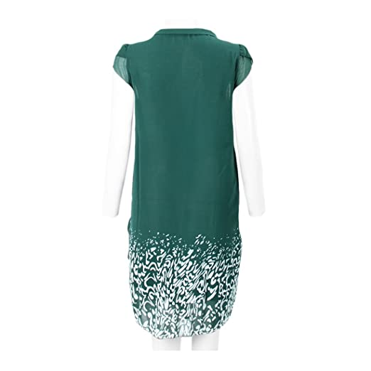 SODIAL(R) Vestido de impresion tropical Vestido de mujer Vestido de chiffon rodado informal Ropa de mujer Aguamarina M: Amazon.es: Ropa y accesorios