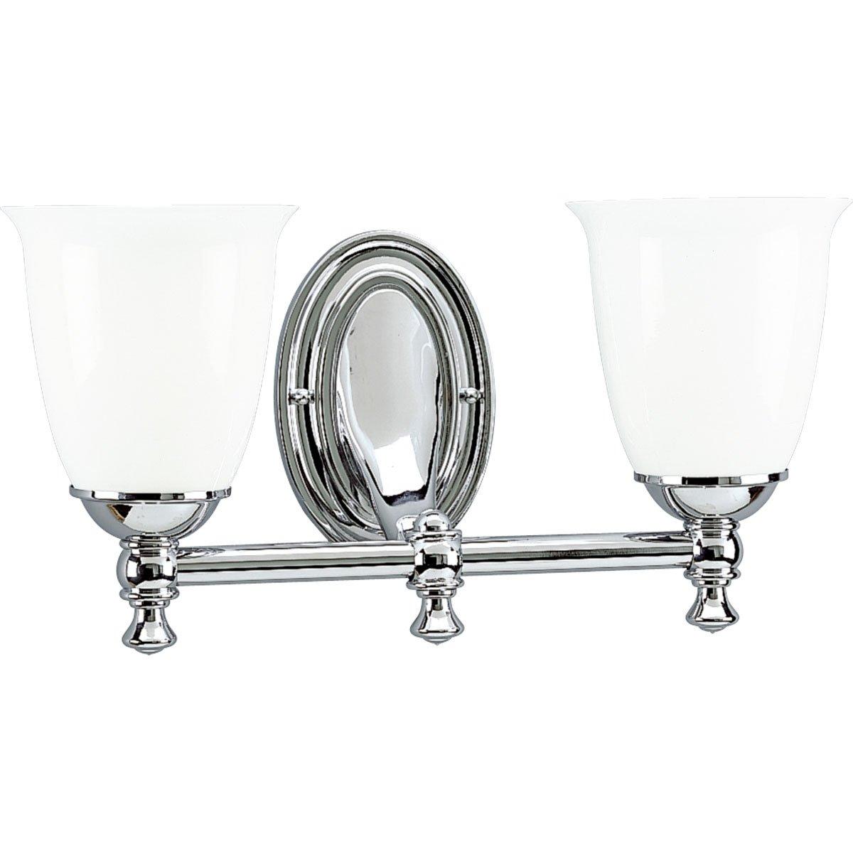 Progress Lighting P3028 15 2 Light Bath Bracket With White Opal Glass Polished Chrome Wall Sconces Amazon Com