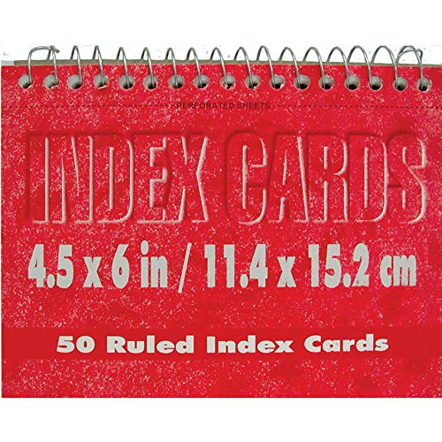 Spiral index cards, 4''x 6'', 50 pk, White, Ruled, Case Pack of 72, Ideal for Bulk Buyers