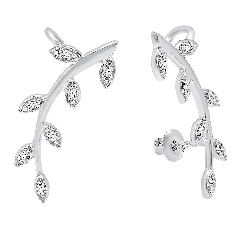 0.11 Carat (ctw) 10K Gold Round Cut White Diamond Ladies leaf shaped Climber Earrings
