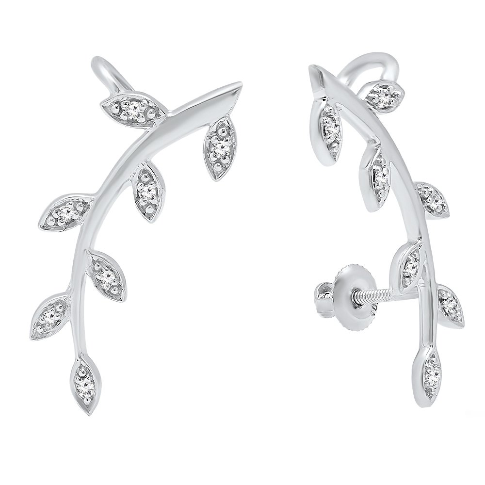 0.11 Carat (ctw) 10K White Gold Round Cut White Diamond Ladies leaf shaped Climber Earrings