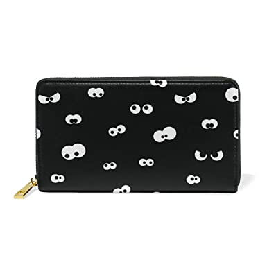 women genuine leather wallet purse halloween spooky eyes card holder organizer clutch