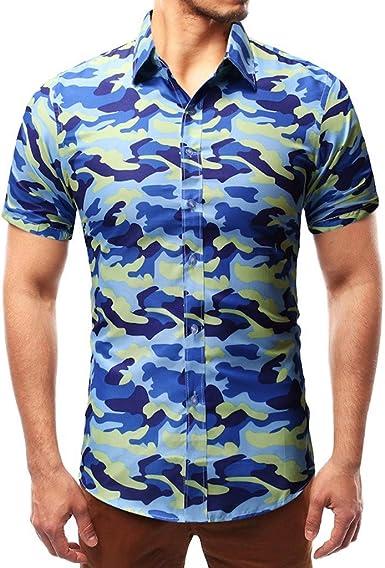 DOGZI Camisas Militar Hombre - Manga Corta Estampado de Camuflaje Casual Slim Fit botón Militar Camiseta: Amazon.es: Ropa y accesorios