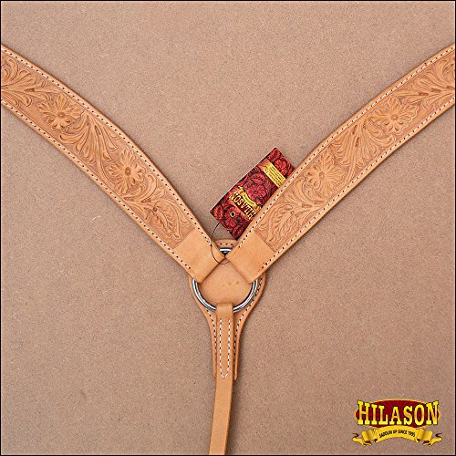HILASON AMERICAN LEATHER WESTERN HORSE BREAST COLLAR TAN HAND TOOL FLORAL CARVED