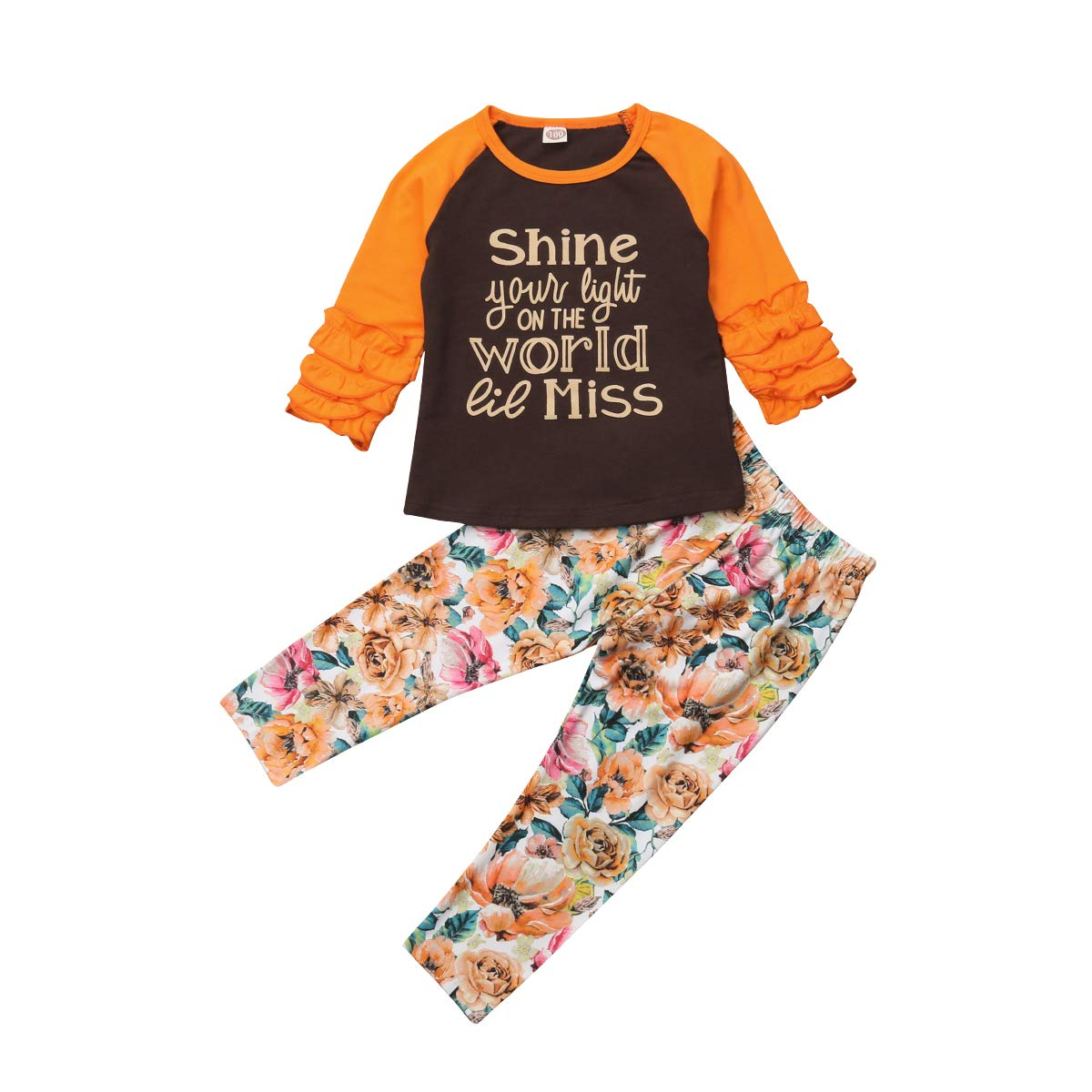 2PCS Kids Baby Girl Shine World Miss Letter Ruffle Sleeve T Shirt Tops+Full Floral Pants Outfit Set