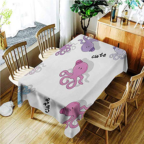 TT.HOME Anti-Fading Tablecloths,Teen Girls Octopus Pattern Colorful Cute Drop Shadow Cartoon Illustration Childish Print,Party Decorations Table Cover Cloth,W60x84L,Purple Blue