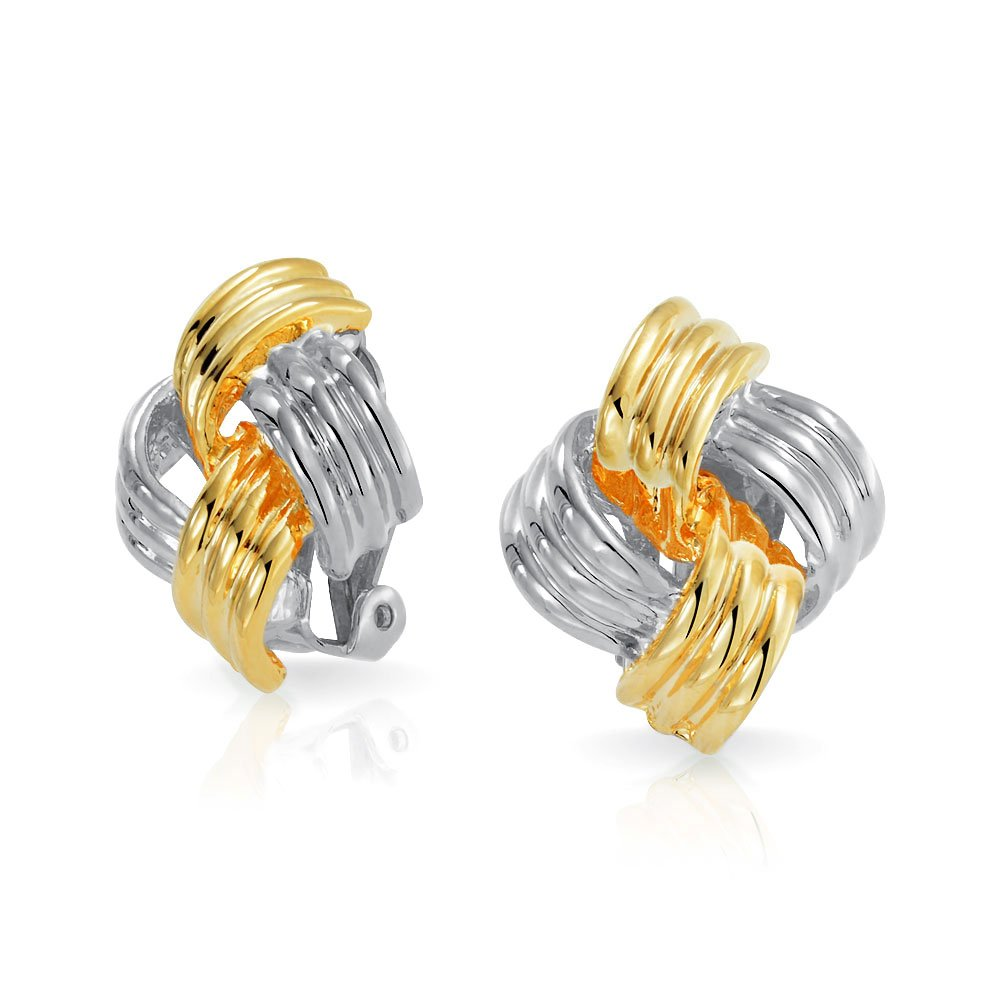 Square Woven Braided Love Knot Clip On Earrings Two Tone Gold Plated and Rhodium Plated Brass Bling Jewelry AG-SE-3152-CL