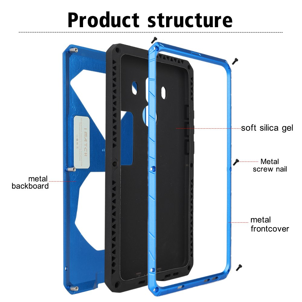 Amazon.com: Huawei Mate 10 Pro Case, Cresee Hybrid Armor Aluminum Metal Shockproof Bumper Frame Case Soft Rubber Silicone Military Heavy Duty Hard Case with ...