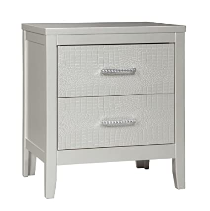 Ashley Furniture Signature Design   Olivet Nightstand   Contemporary Glam    2 Drawers   Silvertone Metallic