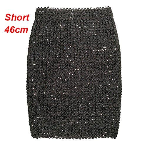 Femme Jupess Dames Paillettes d'or Mini Jupe Moulante Crayon Jupe Jupe Portefeuille Courte pour Bureau Lady Party Girl Saia Black