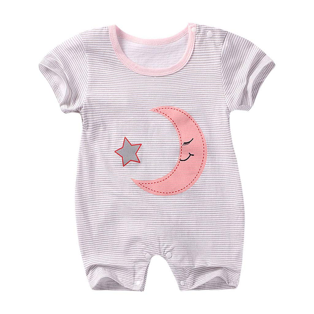 NUWFOR Newborn Baby Boy Girl Short Sleeve Cotton Jumpsuit Star Cloud Moon Print Rompers(White,3-7 Months)