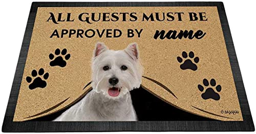 BAGEYOU All Guests Must be Approved Outdoor Doormat with My Love Dog Westie Welcome Floor Mat Custom Name 35.4 x 23.6