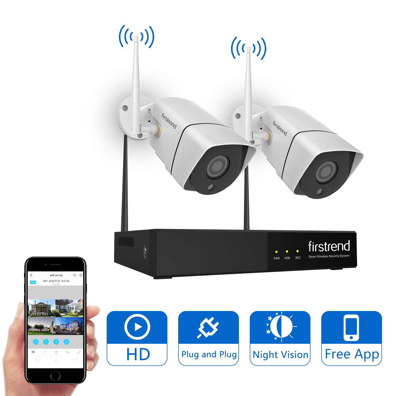 Firstrend Wireless Security Camera System with 2pcs HD Security Camera with Night Vision
