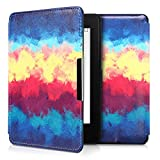 kwmobile Case for Amazon Kindle Paperwhite - Book Style PU Leather Protective e-Reader Cover Folio Case - dark blue yellow red