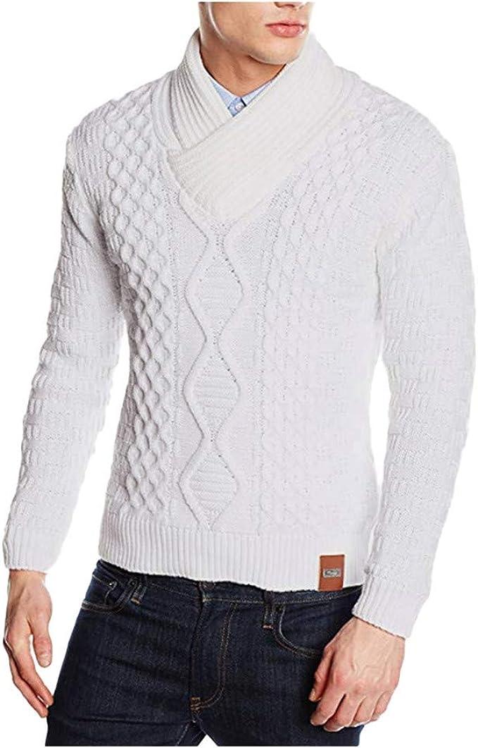 Herren Herbst Winter Warme Strickpullover Einfarbig Langarm Stretch Sweatshirt