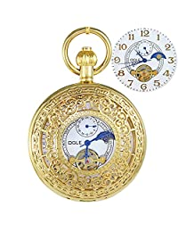 OGLE Mens Women Waterproof Gold Pattern White Tourbillon Phases Moon Chain Fob Skeleton Automatic Mechanical Pocket Watch