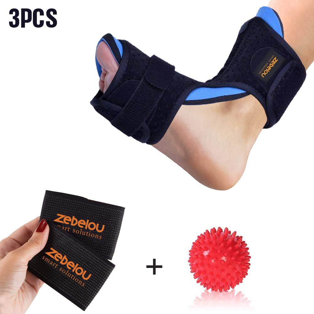 Dorsal Night and Day Splint for Effective Relief from Plantar Fasciitis- Fits Right and Left Foot with Hard Spiky Massage Ball & Arch Support Brace for Men & Women, Comfortable Fit with Easy Adjusting