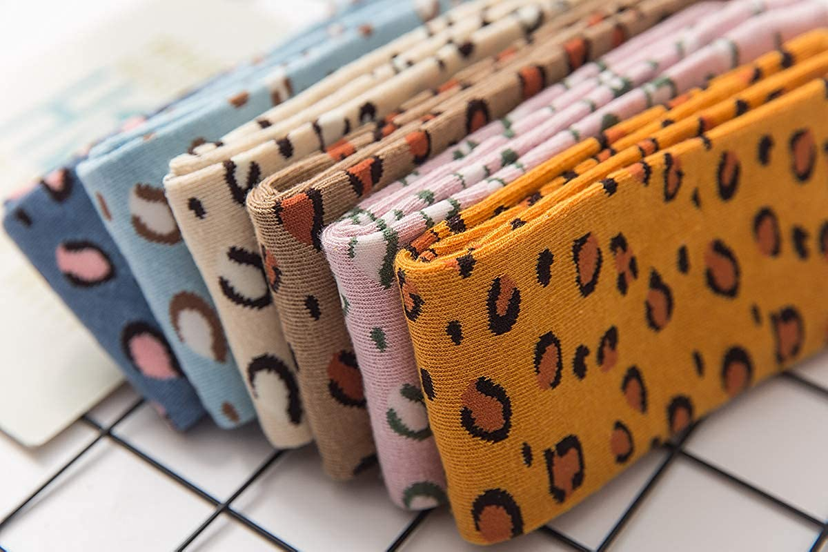 Lumsinker 3 Pairs Leopard Girls Knee High Socks Kids Cotton Long Stockings For 3-12 Years