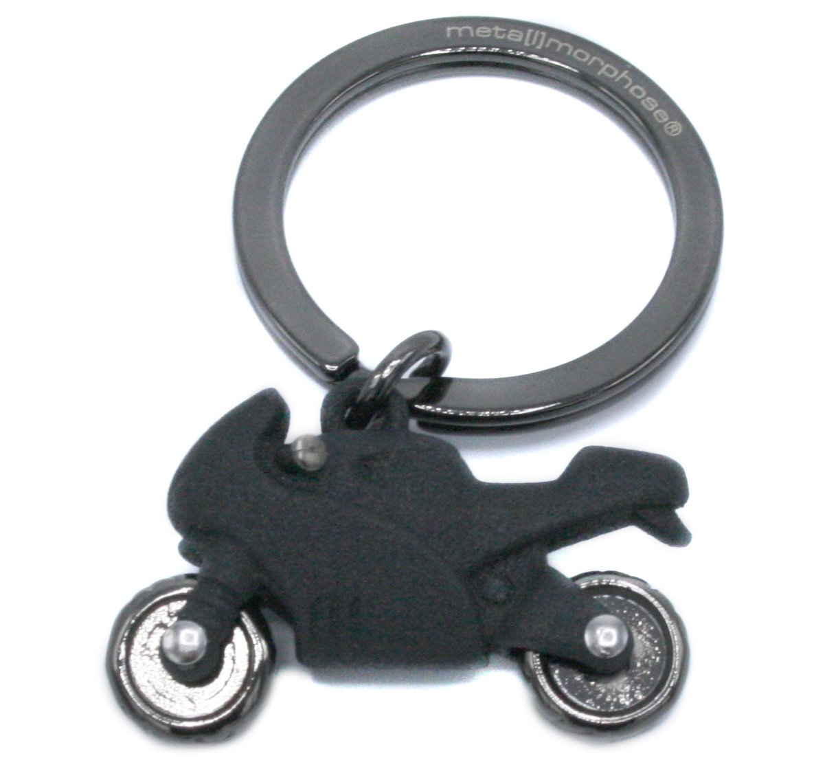 3D Matt Black Motorcycle Keyring with Moving Wheels by Metalmorphose MTM946