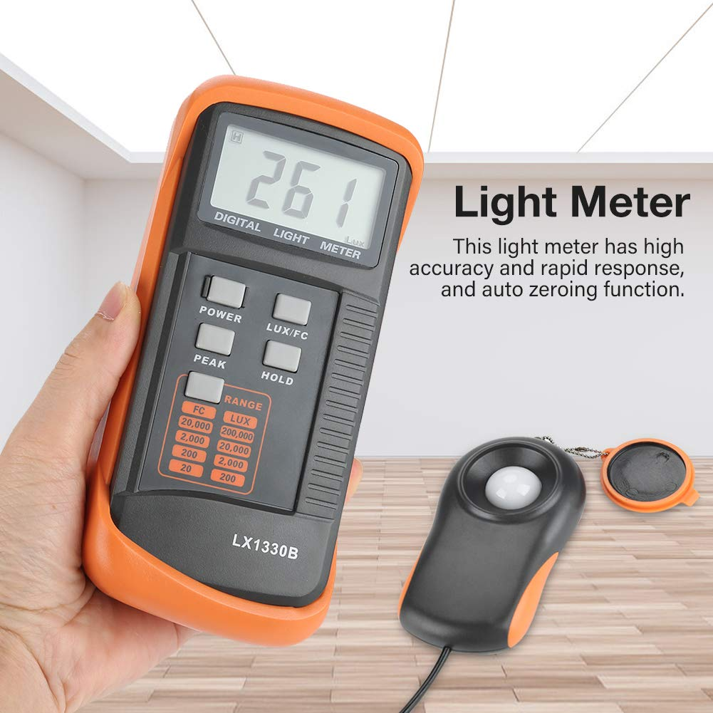 Digital Light Meter LX1330B LCD Display Illuminometer 0.1-200,000Lux//0.01-20,000FC Luxmeter with Storage Box