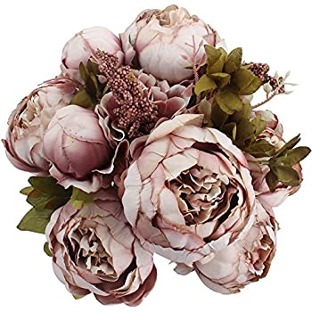Duovlo Fake Flowers Vintage Artificial Peony Silk Flowers Wedding Home Decoration,Pack of 1 (Sweetened Bean) ...