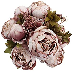 Duovlo Fake Flowers Vintage Artificial Peony Silk Flowers Wedding Home Decoration,Pack of 1 (Sweetened Bean) 2