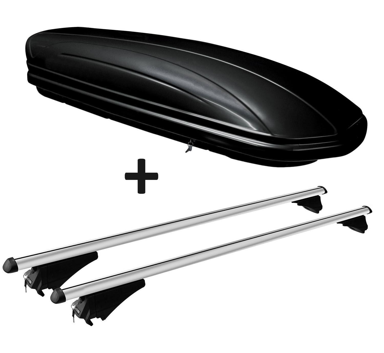 VDP Dachbox schwarz gl/änzend MAA320G g/ünstiger Auto Dachkoffer 320 Liter abschlie/ßbar Alu-Relingtr/äger Dachgep/äcktr/äger f/ür aufliegende Reling im Set f/ür Audi A4 B9 Avant ab 15