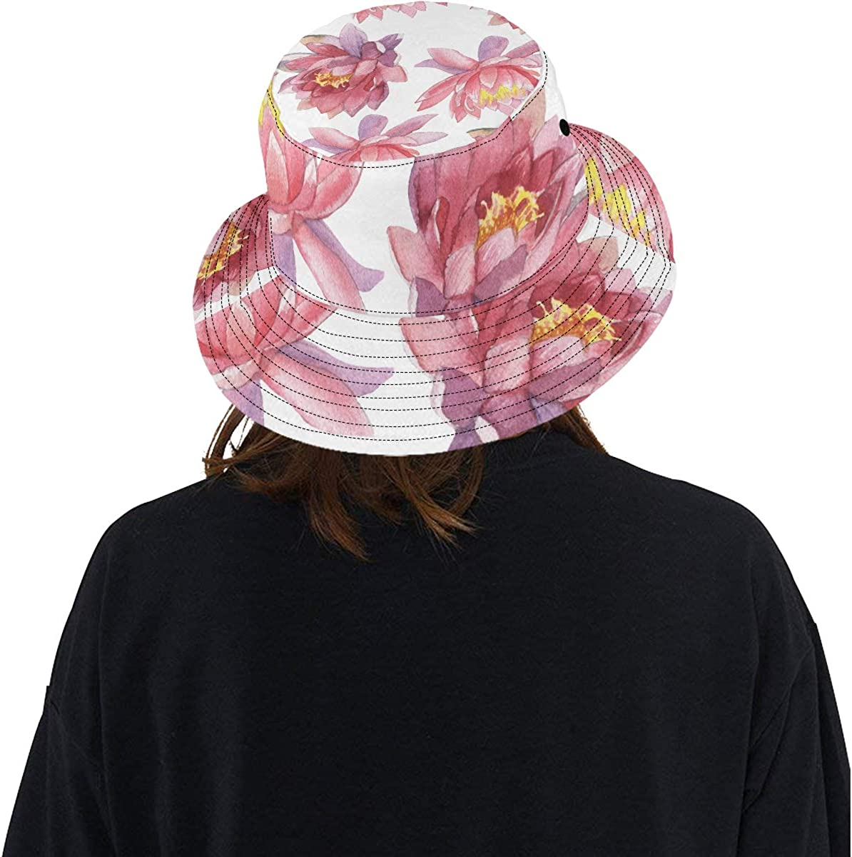 Painted Lotus Summer Flower Summer Unisex Fishing Sun Top Bucket Hats for Kid Teens Women and Men with Packable Fisherman Cap for Outdoor Baseball Sport Picnic