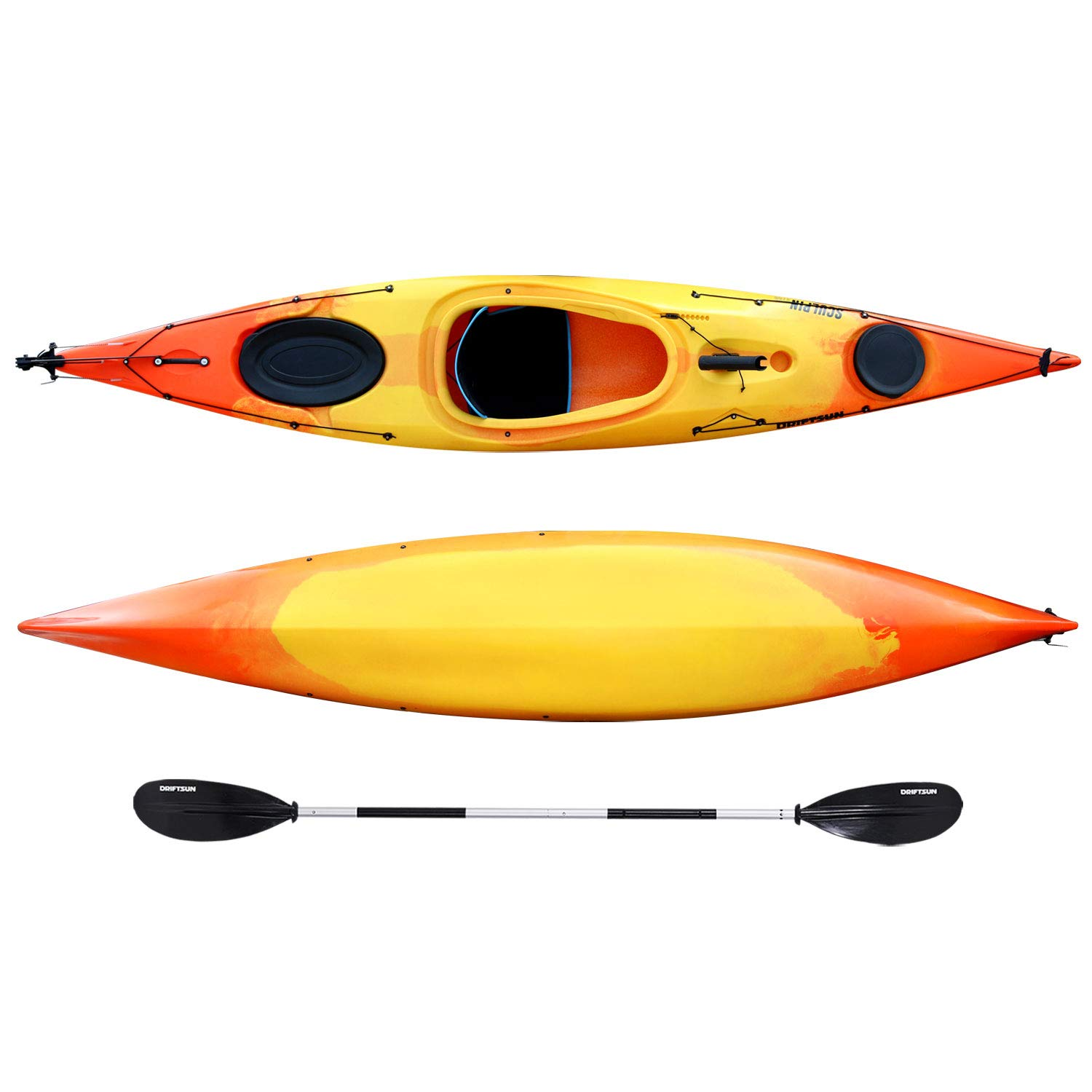 Driftsun Sculpin 12.5 Foot Long Rotomolded Sit-in Kayak, Includes SmartTrack Foot Operated Rudder, Paddle, and Rod Holder
