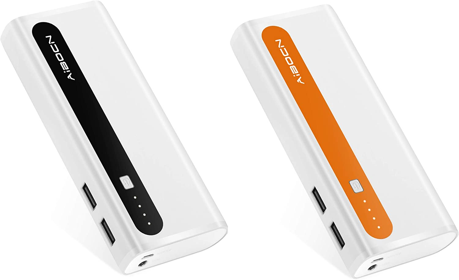 Aibocn Portable Power Bank 2 Pack External Battery Charger with Flashlight for iPhone iPad Samsung Galaxy Compatible with Smartphones Tablet-Black and Orange