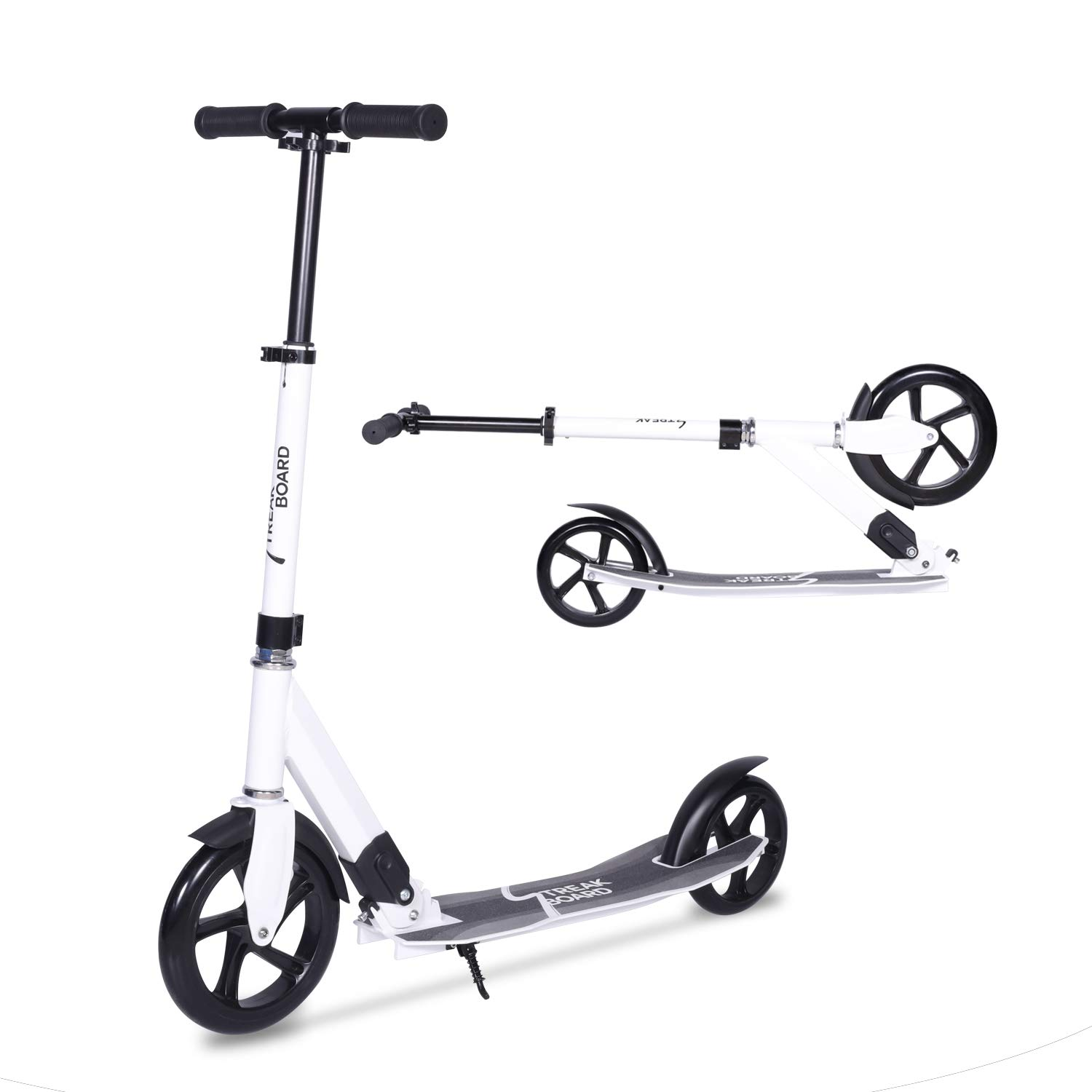 streakboard Kick Scooter Adult Teen Adjustable Foldable Scooter with Shoulder Strap, Rear Fender Brake, 230mm Big Wheels Aluminum Alloy Commuter Scooter for Kids Age 8 Up (White) by streakboard