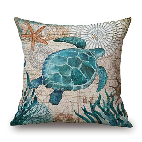 Retro Cotton Cushion Sofa Home Decor Design Square 17.7 Inch Fashion Pillow Case Marine Organism Octopus Sea Turtle (W-85161)