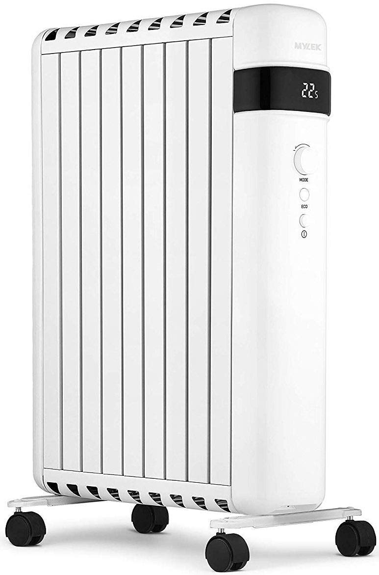MYLEK 2.0kW Portable Oil Filled Radiator Heater with Thermostat & Timer with Eco Mode, Anti Frost Protection, 3 Heat Settings, 24 Hour Countdown Timer - UK Plug (White, 2.0kw)